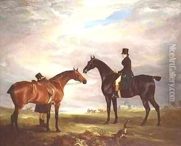 Frank Hall Standish on his Black Hunter with a Groom and a Second Horse Oil Painting - John Snr Ferneley