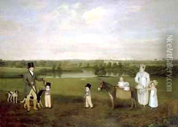 William Hetton Cooke with his Wife and Children at Worleston Rookery Chester Oil Painting - John Snr Ferneley