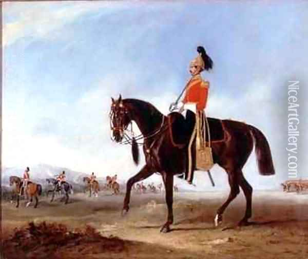 A mounted officer and pickets of the 3rd Dragoon guards on manoeuvres Oil Painting - John Snr Ferneley