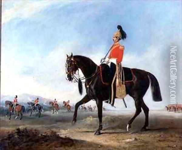 Portrait of an Officer of the 3rd Dragoon Guards with Other Members of the Regiment Beyond Oil Painting - John Snr Ferneley