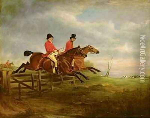 Squire George Osbaldeston on Ashton with Sir Francis Holyoake Goodricke on Crossbow Oil Painting - John Snr Ferneley