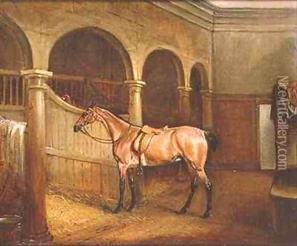 Lord Villiers Roan Hack in the Stables at Middleton Park Oil Painting - John Snr Ferneley