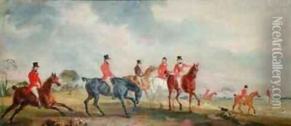 The Quorn Hunt The Artist and his Friends Moving Off Oil Painting - John Snr Ferneley