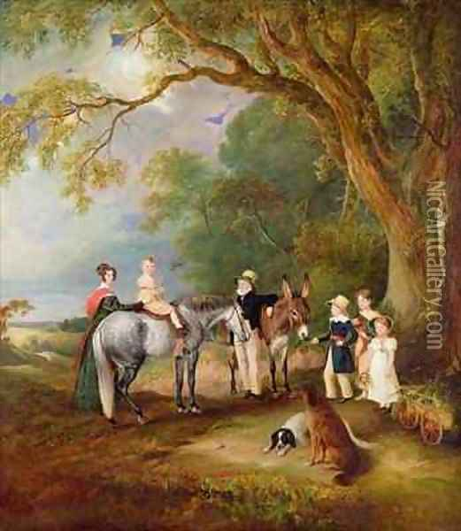Miss Catherine Herrick with her Nieces and Nephews the Five Elder Children of the Rev and Mrs Henry Palmer Oil Painting - John Snr Ferneley