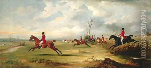 Squire Wormald with a hunt in full cry Oil Painting - John Snr Ferneley