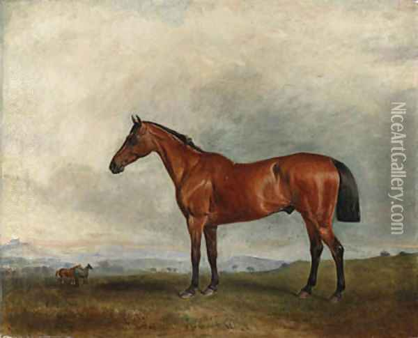 A bay hunter in an extensive landscape, with other hunters beyond Oil Painting - John Snr Ferneley