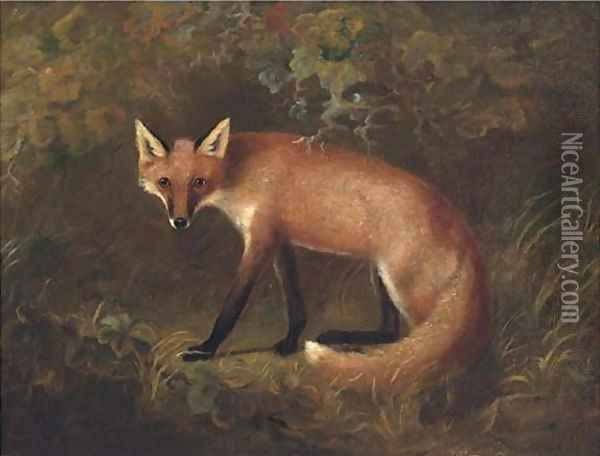 A fox in shrubbery Oil Painting - John Snr Ferneley