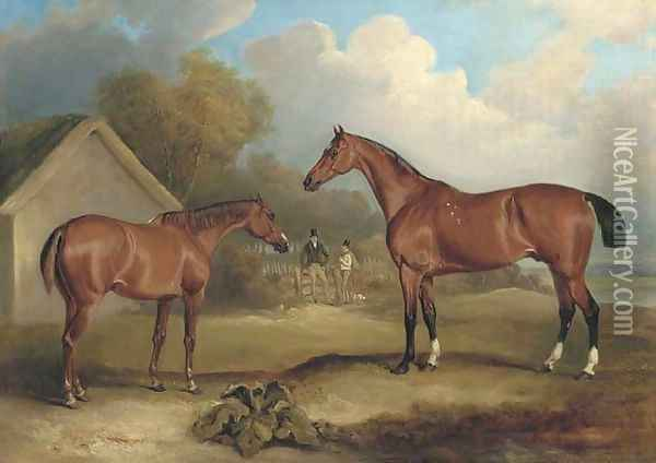 Sambo and Pilot, property of Lord Gardner, at grass, with figures beyond Oil Painting - John Snr Ferneley