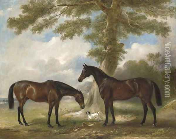 Two bay mares with a terrier by a tree, in a landscape Oil Painting - John Snr Ferneley