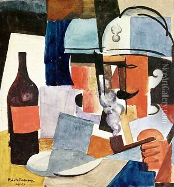 Soldier with Pipe and Bottle Oil Painting - Roger de La Fresnaye
