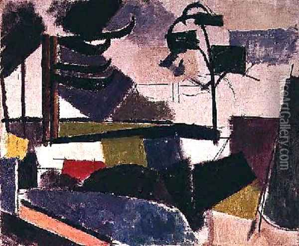 Unfinished Landscape with Tree Branches Oil Painting - Roger de La Fresnaye
