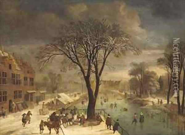 Winter Scene with Skaters on a Frozen River Oil Painting - Jacques Fouquieres