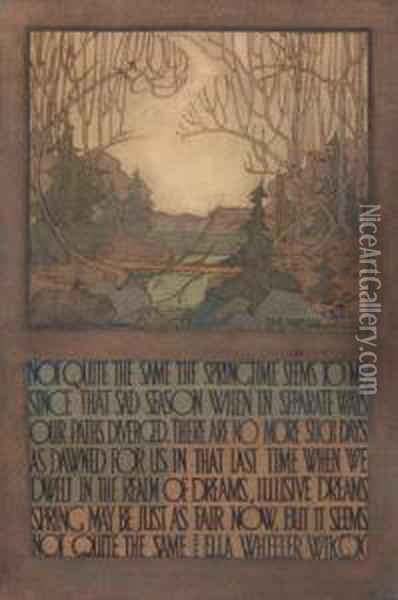 Decorative Landscape: Quotation From Ella Wheeler Wilcox Oil Painting - Tom Thomson