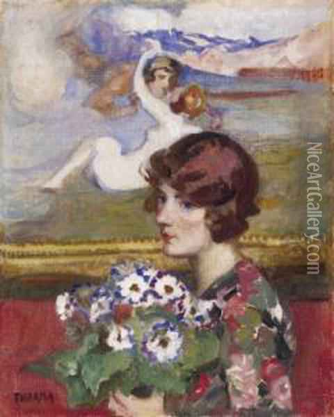 Lady With A Bunch Of Flowers (in The Studio) Oil Painting - Janos Thorma