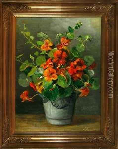 A Still Life With Orange Flowers On A Table Oil Painting - Emmy Marie Caroline Thornam