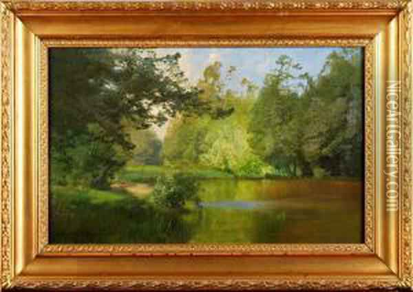 Vid An Oil Painting - Alfred Thorne