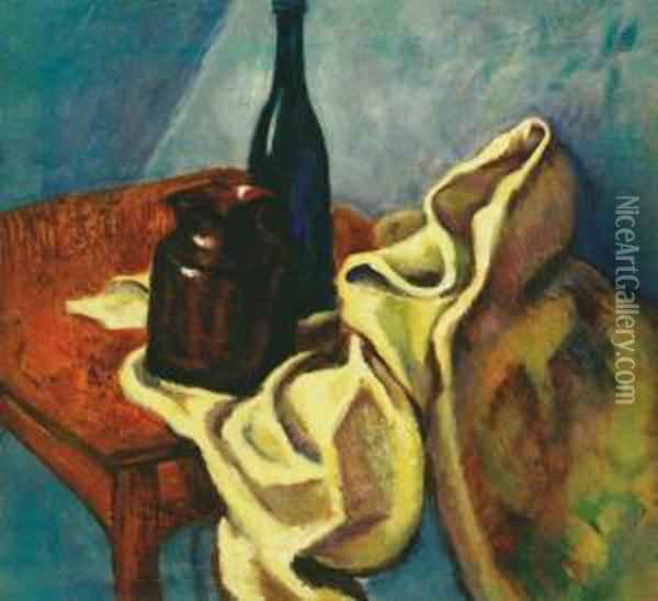 Still Life With Blue Glass Bottle, About 1909 Oil Painting - Lajos Tihanyi