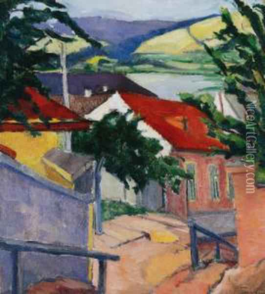 Street In Trencseny Oil Painting - Lajos Tihanyi