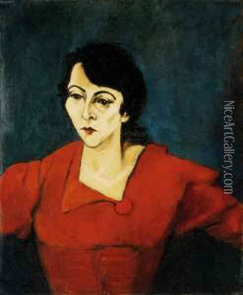 Red-dressed Woman In Green Background (the Portrait Of Mrs. Kar) Oil Painting - Lajos Tihanyi