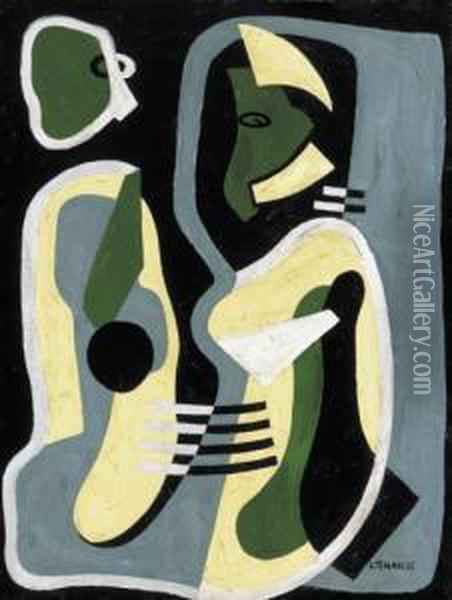 Composition (couple Talking) Oil Painting - Lajos Tihanyi