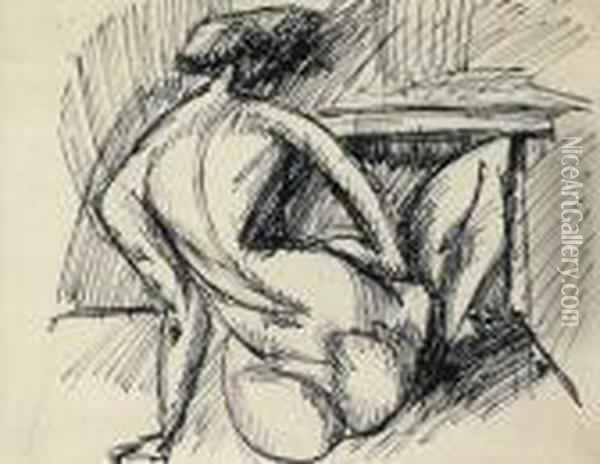Back Nude, About 1912 Oil Painting - Lajos Tihanyi