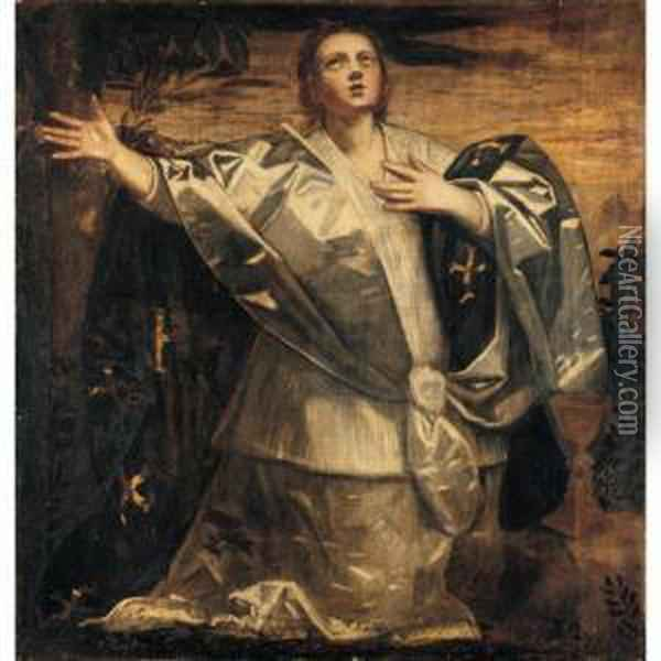 A Personification Of Faith (fides) Oil Painting - Domenico Tintoretto