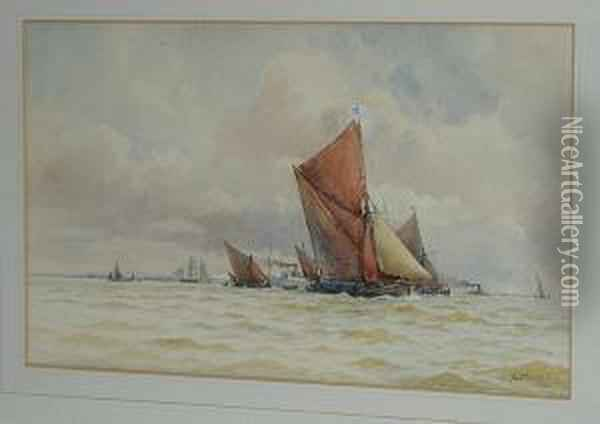 Sailing Barges Oil Painting - William Stephen Tomkin