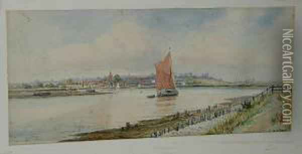 Sailing Boats In An Estuary Oil Painting - William Stephen Tomkin