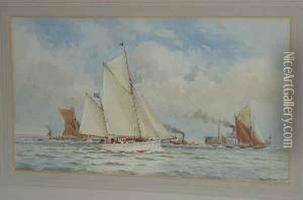 The Two-masted Sailing Yacht 'alpha' And Other Craft In A Breeze Oil Painting - William Stephen Tomkin