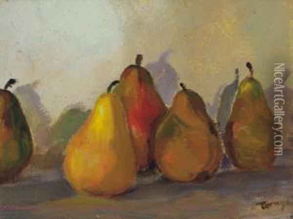 Still-life With Pears Oil Painting - Janos Tornyai