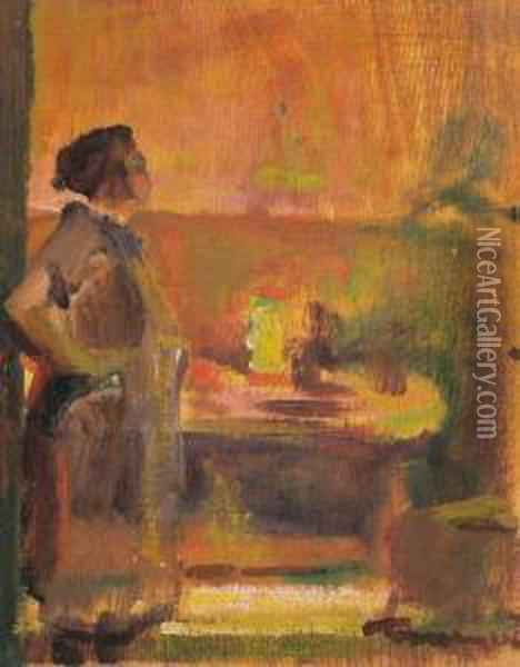 In A Room Oil Painting - Janos Tornyai