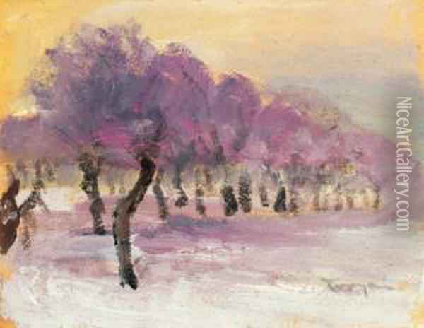 Winter Landscape With Purple Lights Oil Painting - Janos Tornyai