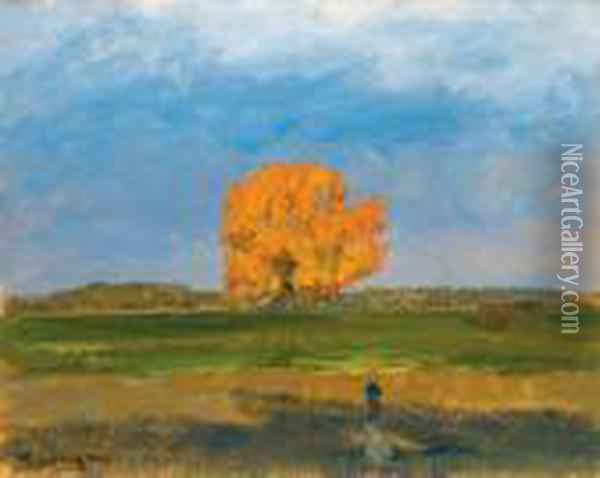 The Great Tree In Martely, (autumn) Oil Painting - Janos Tornyai