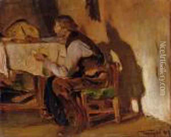 By The Table Oil Painting - Janos Tornyai