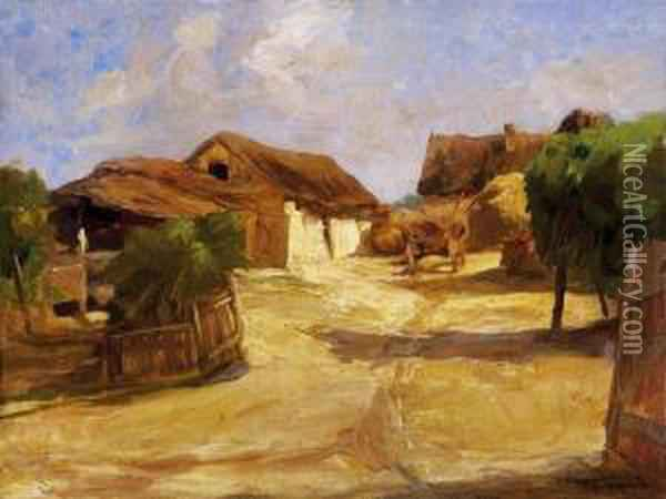 Sunlit Village Yard At Noon Oil Painting - Janos Tornyai
