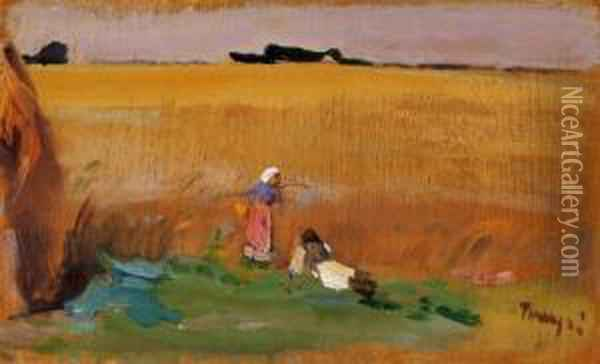 Landscape With Figures Oil Painting - Janos Tornyai