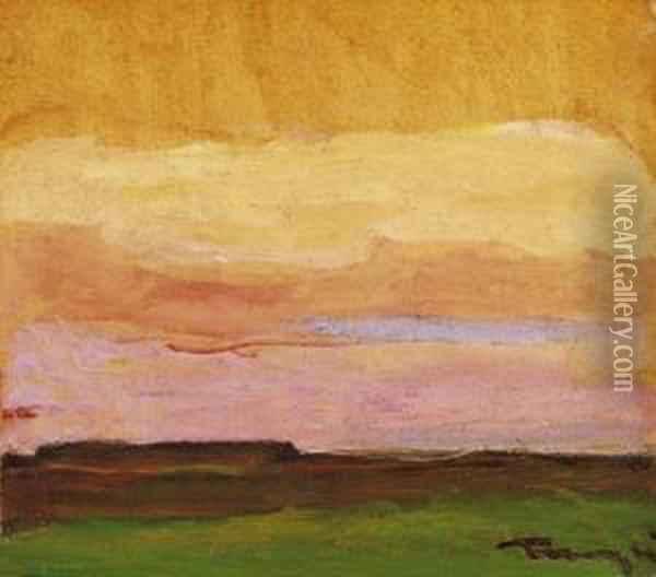Landscape In The Great Plain By Sunset Oil Painting - Janos Tornyai