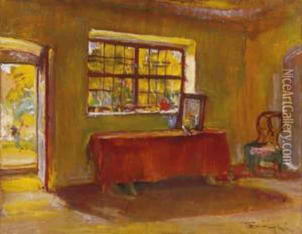 Studio In Szentendre Oil Painting - Janos Tornyai