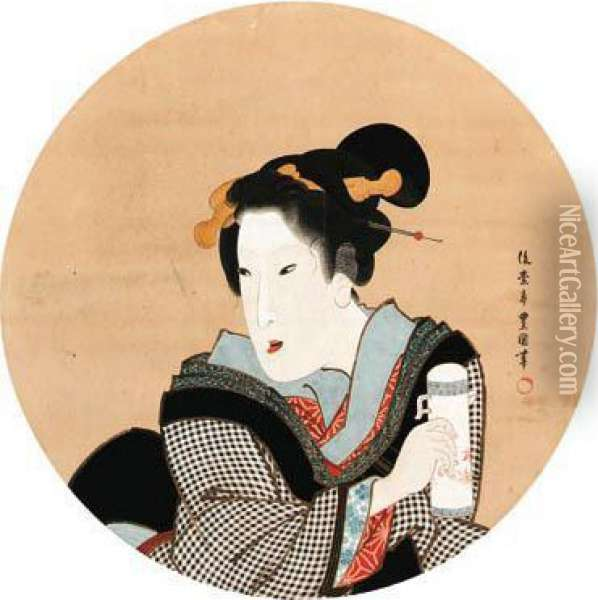Beauty In A Round Window Oil Painting - Toyokuni