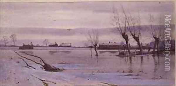 Winter Landscape with Flooded River Oil Painting - Robert Winter Fraser