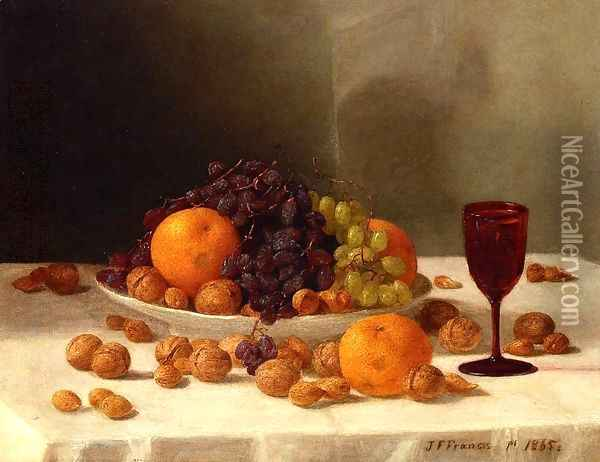 Still Life with Fruit and Nuts 1865 Oil Painting - John Francis