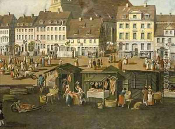 The New Market in Berlin with the Marienkirche Oil Painting - Carl Traugott Fechhelm