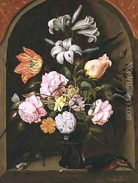 A Still Life of Flowers in a Vase and a Kingfisher on a Ledge Oil Painting - Jan Baptist van Fornenburgh