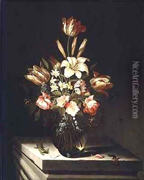 Still Life of Flowers in a Glass Vase Oil Painting - Jan Baptist van Fornenburgh