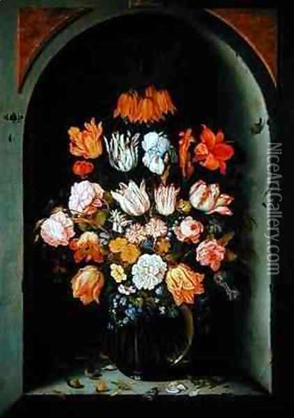 Still life of flowers in a niche with insects reptiles and flower petals Oil Painting - Jan Baptist van Fornenburgh