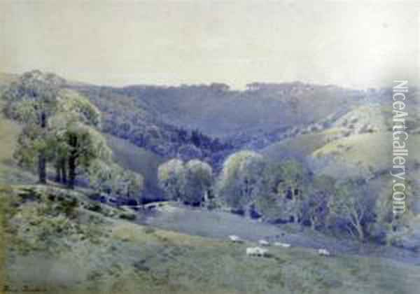 Sheep On The Downs Oil Painting - Frederick Tucker
