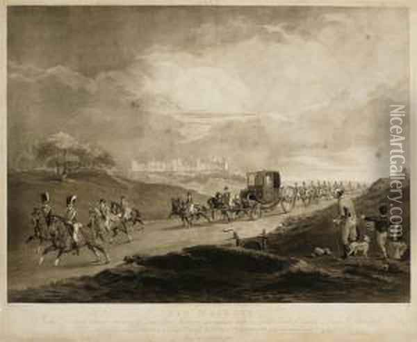 His Majesty In His Travelling Chariot Returning To Town Fromwindsor Oil Painting - Joseph Mallord William Turner
