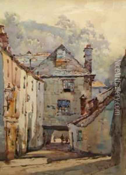 A Street Scene In Devon With Figures Oil Painting - Joseph Mallord William Turner