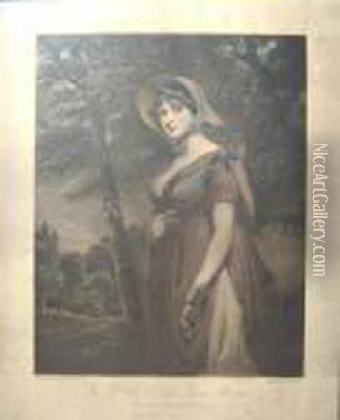 After John Hoppner R.a., 'a  Portrait Of The Rt Hon Lady Louisa Manners In A Peasants Dress',  Mezzotint, 43.5cm X 34.5cm, Framed Oil Painting - Joseph Mallord William Turner