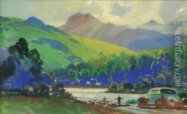 Landscape Withcar In The Lake  District Gouache 18cm X 29.5cm Charles E. Turnerwas An Official War  Artist, And Contracted To Dunlop Rubber Companycirca 1935-1950 As An  Advertising Artist Oil Painting - Joseph Mallord William Turner